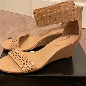 TORRID Nude laser cut wedges sandals 12 wide